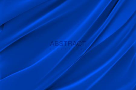 Tejido sedoso azul. Fondo abstracto. Ilustración vectorial. Textil realista con pliegues y cortinas. Elemento de decoración para el diseño. Ilustración de vector