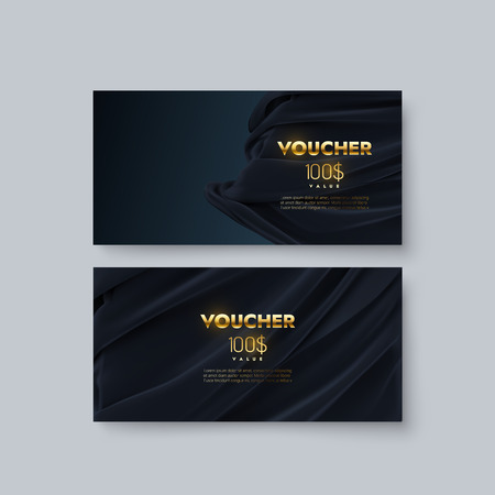 Gift voucher templates. Set of discount certificates. Vector illustration of coupons with 100 dollars value. Premium promotional card with black draped silk fabric