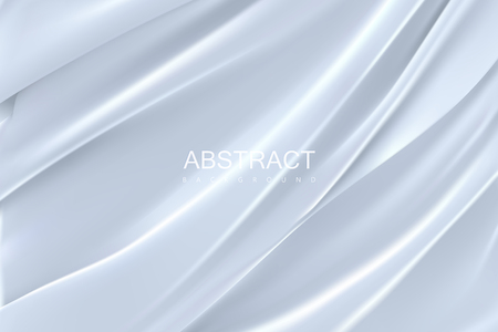 White silky fabric. Abstract background. Vector illustration. Realistic textile with folds and drapes. Decoration element for design