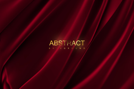 Dark red silky fabric. Abstract background. Vector illustration. Realistic textile with folds and drapes. Decoration element for design