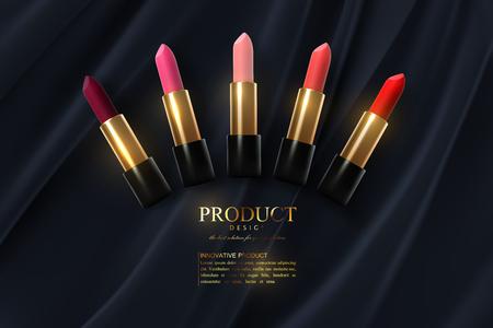 Modèle d'affiche d'annonces de collection de rouge à lèvres. Produits cosmétiques haut de gamme. Conception de maquette d'emballage. Cosmétiques sur fond de tissu. illustration vectorielle 3D. Concept de maquillage ou de visage. Bannière de magazine de beauté