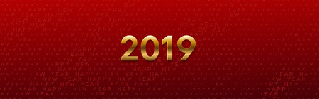 Happy New 2019 Year. Vector holiday illustration. Seasonal festive banner concept. Red background with golden typography halftone pattern. Greeting card or party invitation sign template