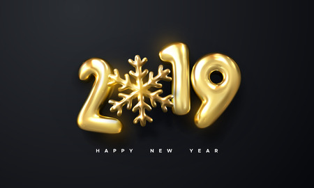Happy New 2019 Year. Holiday vector illustration of golden metallic numbers 2019 and snowflake shape. Realistic 3d sign. Festive poster or banner design. Party invitation