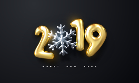 Happy New 2019 Year. Holiday vector illustration of golden metallic numbers 2019 and silver snowflake shape. Realistic 3d sign. Festive poster or banner design. Party invitation Illustration