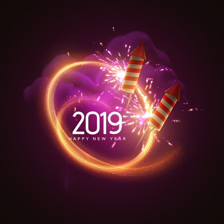 2019. Happy New Year. Holiday vector illustration. Festive light banner with sparkling firework rockets, fireworks, flashes, smoke and text label. New Year poster template design.