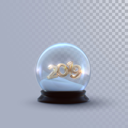 Christmas snow globe with golden 2019 numbers isolated on checkered transparent background. Vector 3d illustration. Holiday decoration. Winter Xmas ornament. Crystal ball with snow. Glass sphere