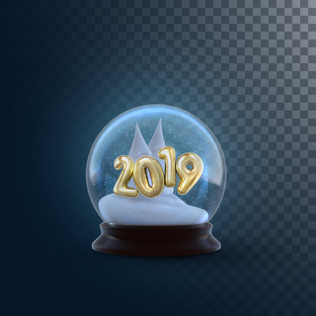 Christmas snow globe with golden 2019 numbers isolated on transparent background. Vector 3d illustration. Holiday decoration. Winter Xmas ornament. Crystal ball with snow and fir trees. Glass sphere