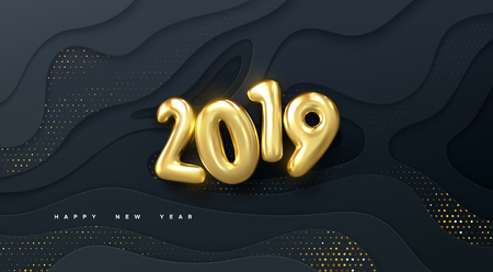 Happy New 2019 Year. Vector holiday illustration. Golden numbers on black wavy paper shapes background textured with glittering particles. Layered papercut decoration. Festive banner template