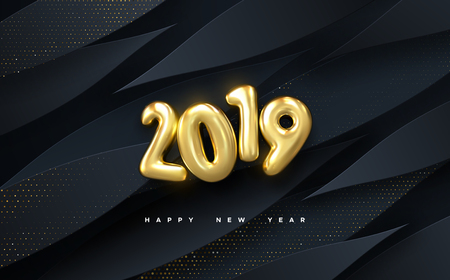 Happy New 2019 Year. Vector holiday illustration. Golden numbers on black paper shapes background textured with glittering particles. Layered papercut decoration. Festive banner template