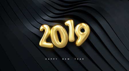 Happy New 2019 Year. Holiday vector illustration of golden metallic numbers 2019 on wavy black ribbon background. Realistic 3d sign. Festive poster or banner design. Modern cover design