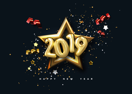 Happy New 2019 Year. Holiday poster template. Festive vector illustration. Christmas decoration with sparkling golden numbers, confetti particles, star frame, ribbon streamers. Party invitation design