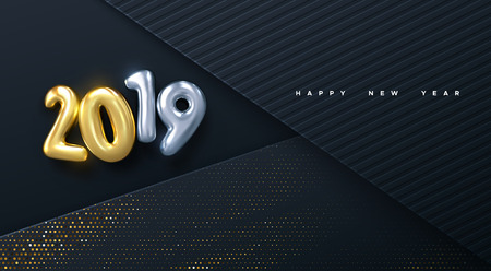 Happy New 2019 Year. Vector holiday illustration. Golden numbers on black paper layers background textured with glittering particles. Layered papercut decoration. Festive banner template Ilustracja