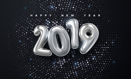 Happy New 2019 Year. Holiday vector illustration of silver metallic numbers 2019 and glittering halftone pattern. Realistic 3d sign. Festive poster or banner design