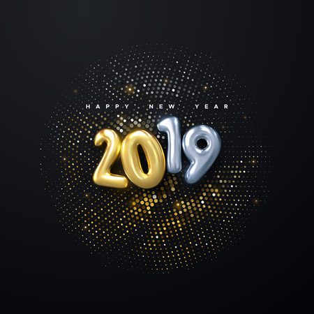 Happy New 2019 Year. Holiday vector illustration of golden and silver metallic numbers 2019 and sparkling glitters pattern. Realistic 3d sign. Festive poster or banner design