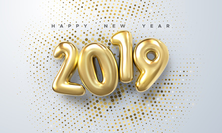 Happy New 2019 Year. Holiday vector illustration of golden metallic numbers 2019 and sparkling glitters pattern. Realistic 3d sign. Festive poster or banner design Ilustracja