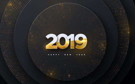 Happy New 2019 Year. Holiday vector illustration of white paper numbers 2019 textured with golden paint on layered black shapes background. Realistic 3d sign. Festive poster or banner design