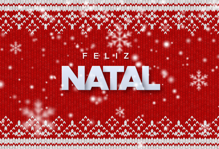 Feliz Natal. Merry Christmas. Holiday vector illustration of paper Feliz Natal sign with falling snowflakes texture on red knitted background. Traditional ornament woven fabric. Festive banner design