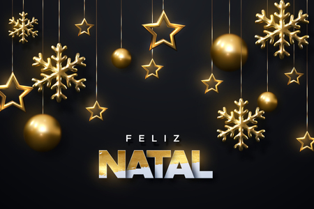 Feliz Natal. Merry Christmas. Shimmering golden snowflakes, christmas balls and stars on black background. Vector illustration of hanging ornament. Cover or banner template. Winter holiday decoration.