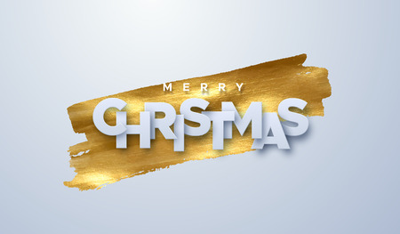 Merry Christmas. Vector typography illustration. Holiday decoration of white paper letters on golden paint stain background. Festive banner design. Christmas ornament