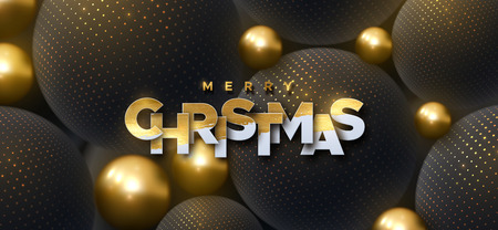 Merry Christmas. Vector typography illustration. Holiday decoration of white paper letters on 3d black and golden spheres background. Festive banner design. Abstract holiday cover. Christmas ornament