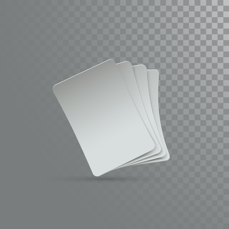 Four playing cards mockup. Vector illustration. Blank cards isolated on transparent background