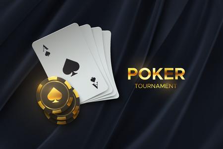Tournoi de poker. Illustration vectorielle. Quatre cartes à jouer avec des jetons de jeu sur fond de tissu noir. Concept de bannière de casino