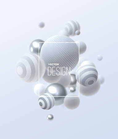 Abstract background with 3d spheres cluster. White and silver bubbles. Vector illustration of balls textured with striped and dotted patterns. Ads banner or brochure template. Trendy dynamic wallpaper Illustration