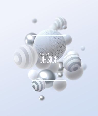 Abstrait avec cluster de sphères 3d. Bulles blanches et argentées. Illustration vectorielle de boules texturées avec des motifs rayés et en pointillés. Bannière d'annonces ou modèle de brochure. Papier peint dynamique à la mode