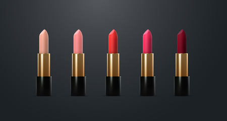 Lipstick collection ads poster template. Premium cosmetic products. Packaging mockup design. Cosmetics isolated on dark background. 3d vector illustration. Makeup or visage concept. Beauty banner