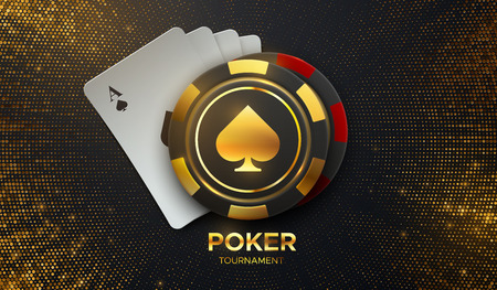 Poker tournament. Vector illustration. Four playing cards with gambling chips on black background with shimmering glitters. Casino banner concept. 向量圖像