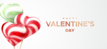 Happy Valentines Day. Heart shape colorful lollipops. Vector 3d illustration of sweets. Sugar candies. Love concept. Valentines day banner design.