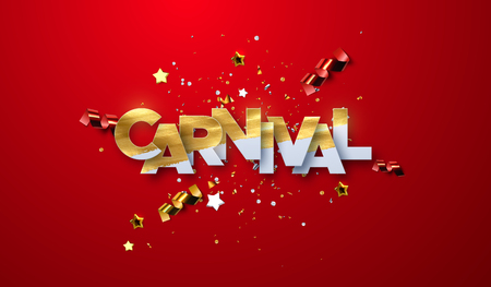 Carnival paper label with glitters, streamers and stars. Vector illustration. Holiday event sign. Carnaval festive banner design Imagens - 124960934