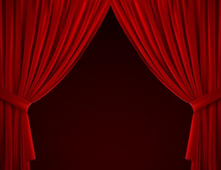 Fondo de cortina roja. Ilustración vectorial realista. Cortinas textiles. Tejido de terciopelo doblado. Elemento de decoración para el diseño. Objeto interior de teatro, cine o hogar