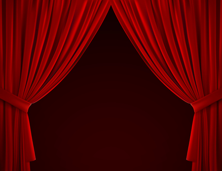Red curtain background. Realistic vector illustration. Textile drapes. Folded velvet fabric. Decoration element for design. Theater, cinema or home interior object
