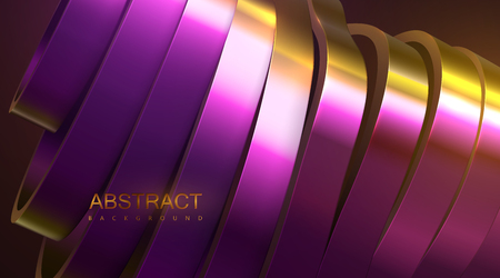 Sliced wavy surface. Vector futuristic illustration. Gold and purple abstract background with thin film reflection effect. 3d relief with curved ribbons. Decoration element. Modern cover design Illustration