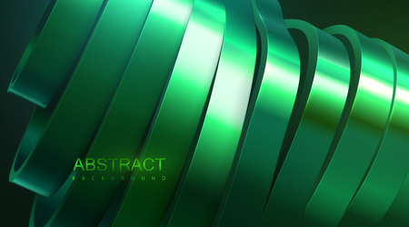 Sliced wavy surface. Vector futuristic illustration. Abstract background with green metallic shapes. 3d relief with curved ribbons. Decoration element. Modern cover design Illustration