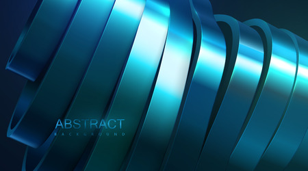 Sliced wavy surface. Vector futuristic illustration. Abstract background with blue metallic shapes. 3d structure with curved ribbons. Decoration element. Modern cover design Illustration