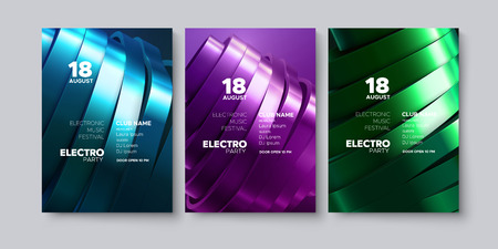 Electronic music festival advertising posters. Modern club electro party invitation. Vector illustration with 3d abstract sliced surface. Dance music event cover. Trendy cover design Illustration