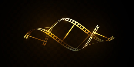 Bande de film d'or isolée sur fond noir. Illustration 3d vectorielle. Bande de film en forme d'ADN. Concept de cinéma. Signe de cinéma ou d'animation. Conception du prix du festival de cinéma