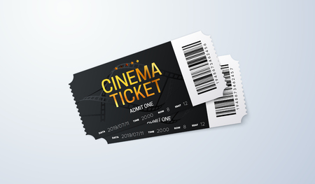 Black cinema tickets on white background. Vector realistic illustration. Movie admission. Coupon design
