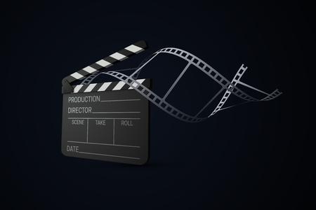 Ciak film con striscia di pellicola arricciata. Produzione cinematografica o concetto di industria dei media. Illustrazione di vettore 3d. Attrezzatura cinematografica realistica. Segno di produzione di film