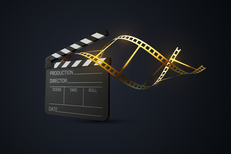 Film clapper board with curled golden film strip. Cinema production or media industry concept. Vector 3d illustration. Realistic filmmaking equipment. Movie production sign. Cinematography award symbol