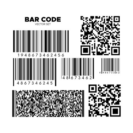 Bar code vector set. QR scan code templates. Barcode patterns for design. Product, service or boarding pass identification Ilustração