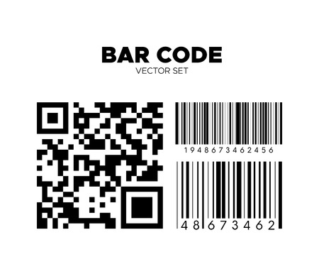 Bar code vector set. QR scan code templates. Barcode patterns for design. Product, service or boarding pass identification Illustration