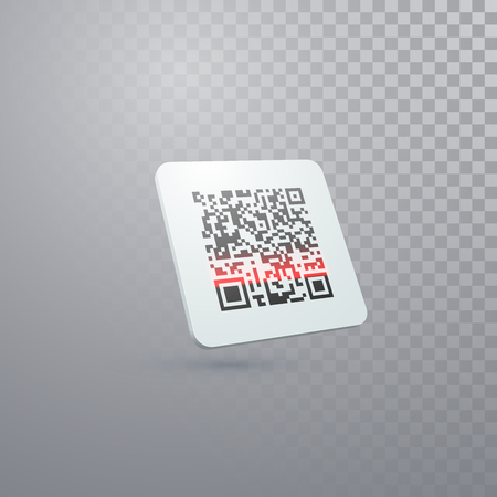 QR code icon isolated on transparent background. Vector illustration of scanning bar code label. Illustration