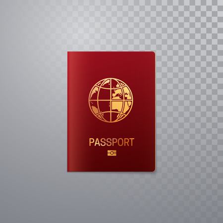 International passport template. Vector illustration of pass or ID isolated on transparent background. Citizenship concept