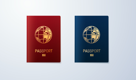 International passport templates. Vector illustration of pass or ID isolated on white background. Citizenship concept  イラスト・ベクター素材