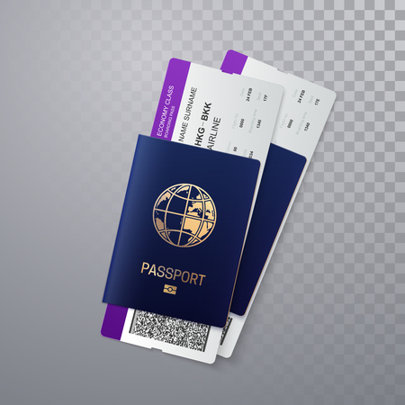 International passports with boarding passes. Vector illustration of identification document with flight tickets isolated on transparent background. Travel or business trip concept