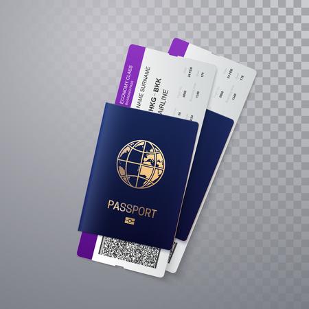 Pasaportes internacionales con tarjetas de embarque. Ilustración de vector de documento de identificación con billetes de avión aislado sobre fondo transparente. Concepto de viaje o viaje de negocios.