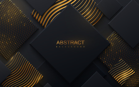 Black paper cut background textured with golden wavy and dotted patterns. Abstract realistic decoration with stepped square layers. Vector illustration. Material design concept. Cover template